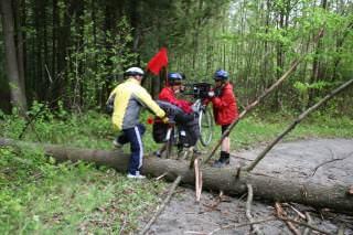 De l'entraide pour passer les vélos par-dessus un arbre